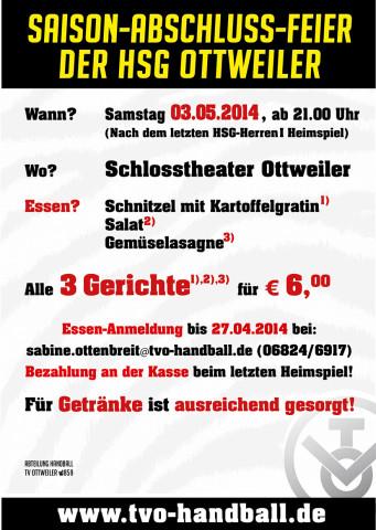 Saisonabschluss HSG ottweiler 2014 6,50 EUR